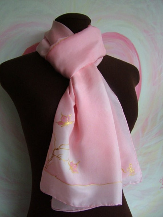 Romantic Pink Handpainted Silk Scarf with Butterflies