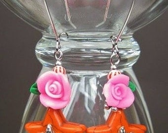 ORANGE / PINK STAR Dangle Cowgirl Earrings