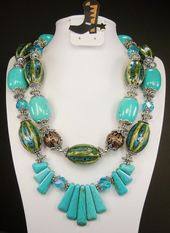 TURQUOISE and Ceramic CHUNKY WESTERN Cowgirl Necklace - CheYeNNe