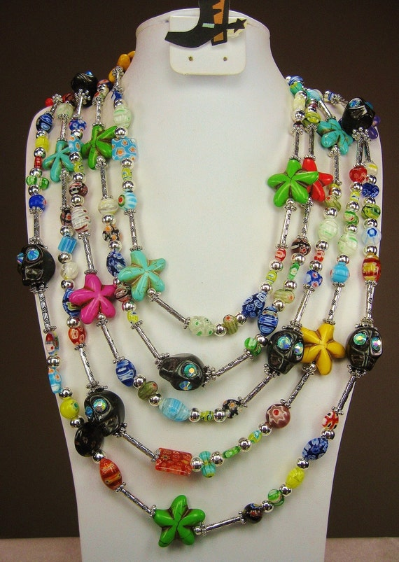 Multicolor Cowgirl Necklace - Millefiore Glass / DAY of the DEAD Sugar Skulls / Howlite Stars -   DaY Of THe DeaD MiLLiE