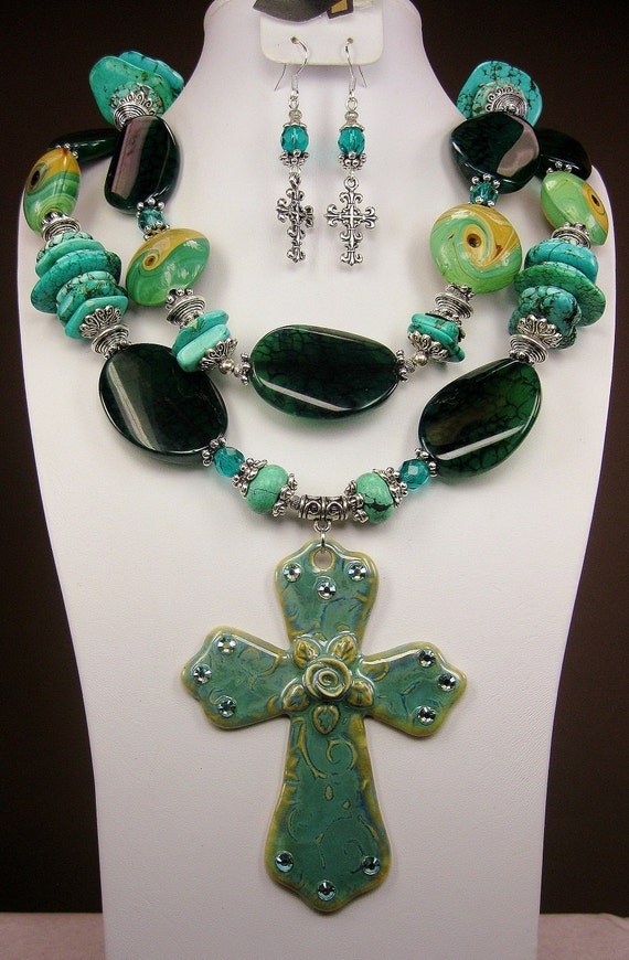 Green Turquoise and Agate / Lampwork / Ceramic Cross Pendant / Western Cowgirl Necklace SET - TuSCoN TuRQUoiSe SuPReMe