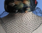 Vintage Black Feather Pill Box Hat with Veil