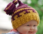 Sale Baby Pixie hat striped in yellow and purple 3 to 6 m  hand knitted  made from soft  wool blend with tassle  Ready to ship photo prop