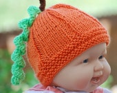 Ready for harvest  seamless  pumpkin beanie 3 -6 months or any size. Immediate shipping. Perfect gift
