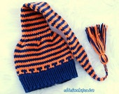 Hand knit  baby hat Go Broncos Long pixie elf   cotton Newborn to 3 months . Munchkins Hat with cord and tassel .