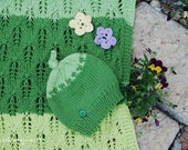 Eco friendly  blanket  hat set , natural shine cotton handknit  lace wrap in green shades colors Photo prop. Redy to ship from Colorado