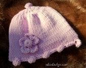 Baby cotton hat  soft pink bobble brim beanie Newborn-3m Hand made in Colorado. Perfect gift . Photo Prop