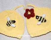 hand knit baby Bumble bees cotton seamless hats twins triplets boys girls removable flower, Newborn-3 months ,  ships in 3 days.  photo prop