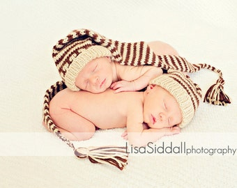 Twin hats boys girls Pixie Elf Newborn to 3 m brown and light brown stripes  cord and tassle.  photo prop.