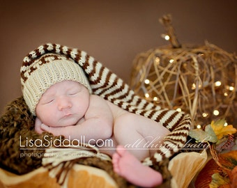 Baby Infant  hat  Pixie Elf Munchkins Thanksgiving Fab Fall  Newborn to 3 m Light brown beige and chocolate stripes  Handmade in Colorado.