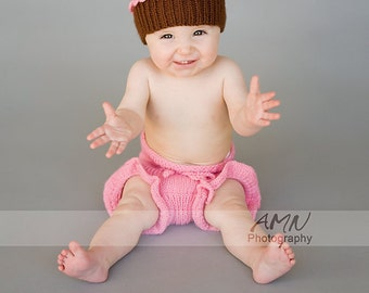 Infant toddler Cupcake pink beanie and diaper cover set  8-12 months. Spring Fashion. Ready to ship from Colorado. Perfect Photo Prop