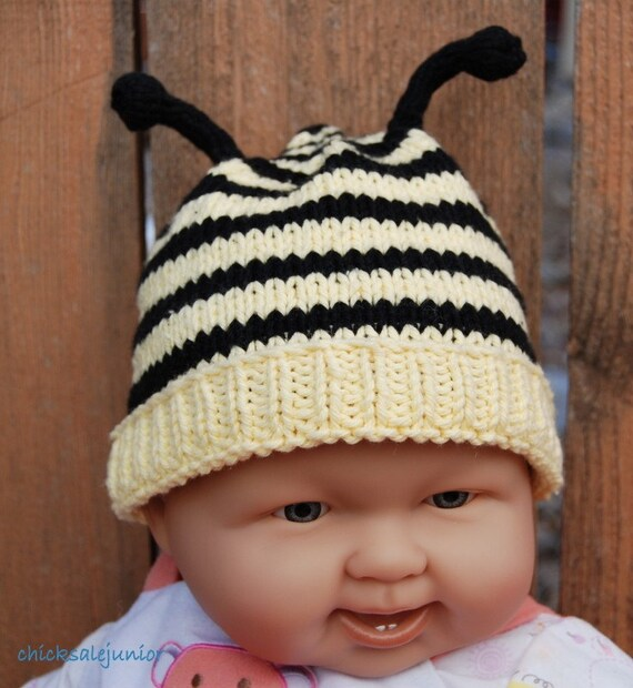 Baby bumble bee pure cotton beanie. Newborn baby hat. Photo Prop. Made in Colorado. Ready to ship