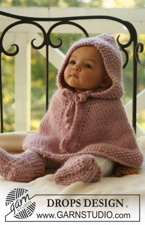 Special order for Erin Knit baby poncho with hood 42P 9-12 months made of wool.  .Handmade in Colorado