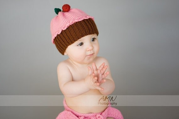 Baby hand knit hat Cupcake Cherry   fruit  preemie, Newborn to 1st Birthday Christmas gift