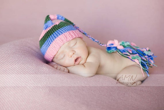 Sale Hand knit baby  Infant  Spring Fashion hat Chunky tassle  Newborn pink blue green  Elf Pixie Photo prop Ready to ship