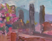 Pompeii, Italy Original Small Acrylic  Painting With Pink Light 6 x 8