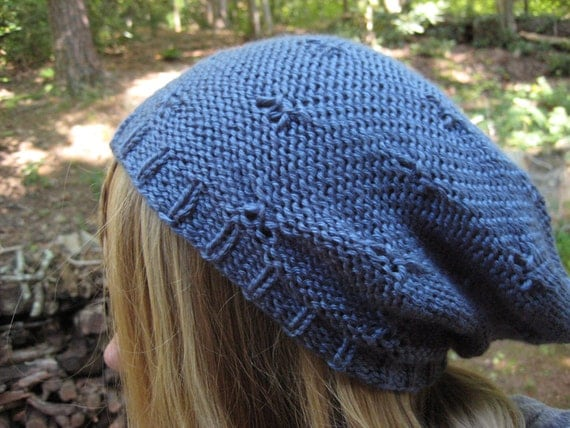 Beanie Slouchy Knitted Hat / Women Men Teen / Fall Winter Fashion Outfit / In Smoky Blue Color
