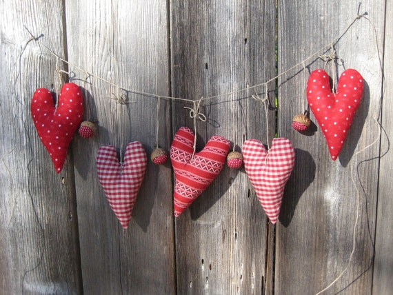 Garland/Banner With Decoration Ornaments / Hearts And Acorns / Gingham / Polka Dots / Red And White