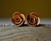 Shimmering Gold Rosette Earrings - Gold Rose Bridesmaid Earrings