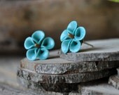 Aqua and Gold Flecked Pimpernel Earrings