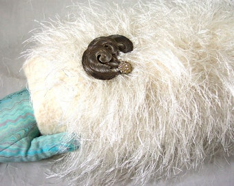 Muff in Winter White Faux Fur Hand Knitted Felt with Wrist Strap