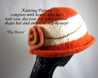 Knitting Pattern Knitted Felt Hat The Florrie Hand Knit & Felt DIY