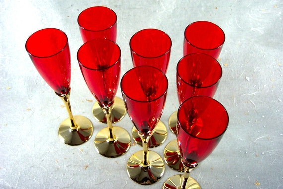 Ruby Red and Gold  Champagne Flutes Set of 8