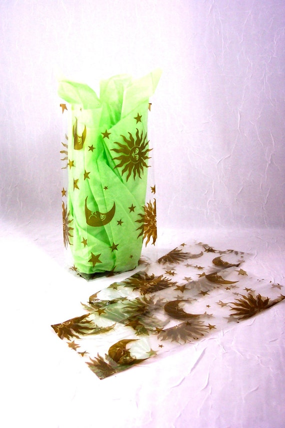 Cellophane Bags in Gold Sun, Moon and Stars 30 Bags for Treats, Favors, Soaps, Gifts