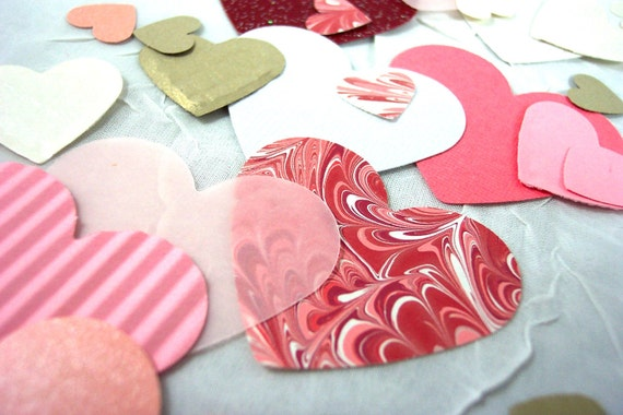Hand Punched Heart Assortment for Cards, Scrapbooking, Paper Crafting