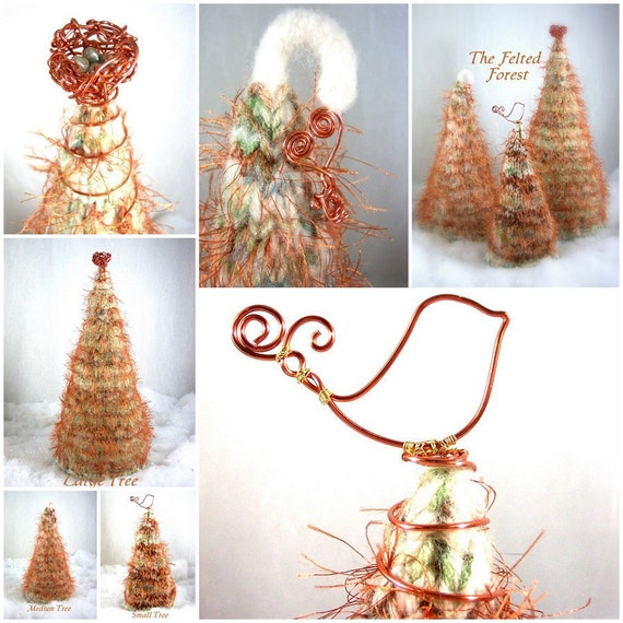 Christmas Trees The Felted Forest in Rustic Copper OOAK