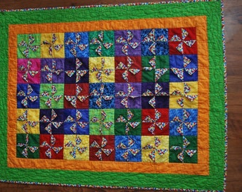 Pinwheels and Polka Dots Baby/Toddler Quilt