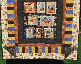 Playful Pumpkins Halloween Wall/Lap Quilt - Fall Home Decor