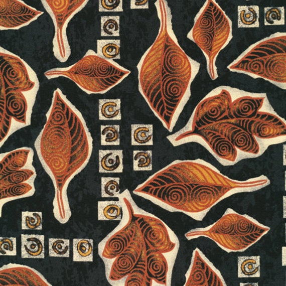 Sale-Woodblock Abstract Fall Leaf Quilt Fabric Ro Gregg for Paintbrush Studios -- Full or Half Yard Fabri-Quilt
