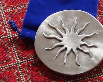 purse mirror - sun - cast pewter