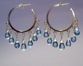 14 karat gold fill blue topaz hoops