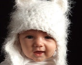White Fuzzy Bear Hat