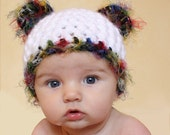 Panda Bear Hat - Available in sizes 0-3 months, 3-6 months, 6-12 months