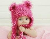 Pink Fuzzy Bear Hat - Choose size 0-3 Months, 3-6 Months, 6-12 Months