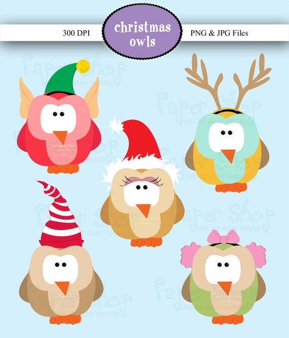 Christmas Owls Clipart-great for card making, christmas cards, digital scrapbooking, invitations, and more