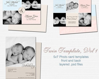 0316-8 Baby Birth Announcement Photoshop PSD Photo Card Template for Photographers - Twin Vol 1 - Exact Size, Millers, Whcc or Mpix
