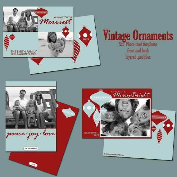 Vintage Ornament 5x7 Christmas Card Templates
