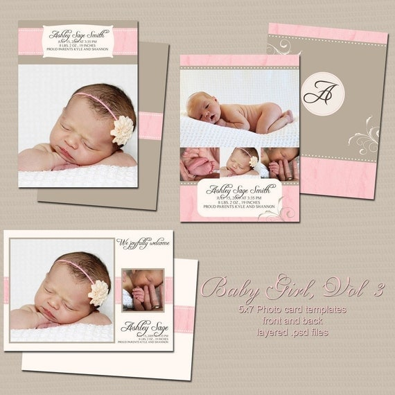 Baby girl 5x7 birth announcement templates volume 3 for Baby birth announcements templates for free