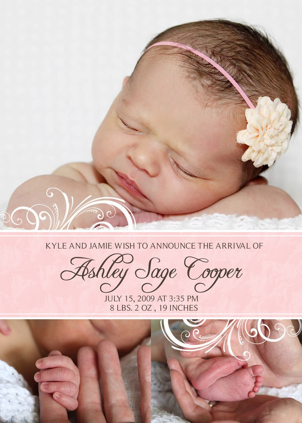 baby girl birth announcement 2 of 3 5x7 birth announcement