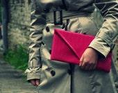 Hot pink crocodile leather envelope clutch