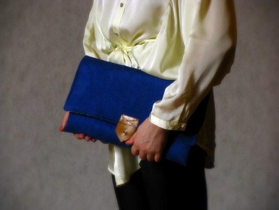 XL royal blue suede clutch