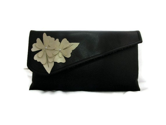 Black Clutch Vegan Leather Flowers