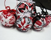 Mini Ornaments Red White and Black Set of Four - Valentines/Christmas