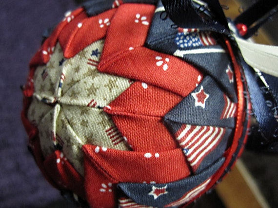Large Patriotic Primitive Ornament Christmas Quilted Ornament Ball
