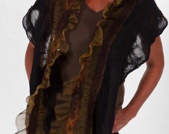 RENDEZVOUS- Nuno Felted Alpaca and Merino Shawl - Women's Fashion Accessories