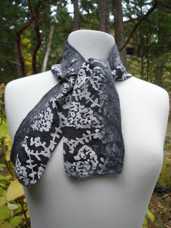 SASHAY - Short Nuno Felted Scarf - Women's Fashion Accessories - Charcoal and Silver